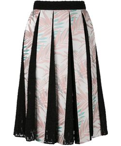 House Of Holland | Palm Leaf Pleated Skirt Womens Size 12 Cotton/Polyester/Rayon