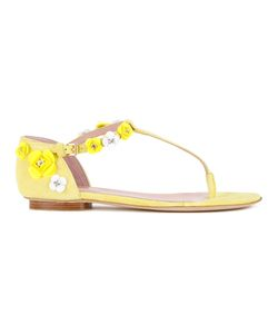 Boutique Moschino | Applique Flat Sandals Womens Size 38 Leather