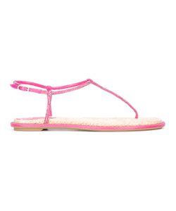 Rene Caovilla | René Caovilla Rhinestones Thong Sandals Womens Size 36 Silk/Rubber/Glass/Raffia