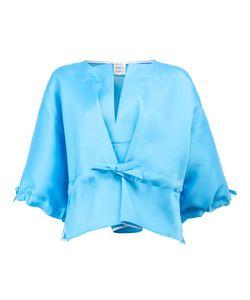 Maison Rabih Kayrouz   Drawstring Cropped Blouse Size 38 Silk/Polyester