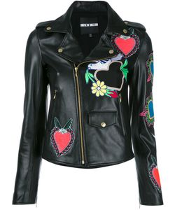 House Of Holland | Heart Patches Biker Jacket Womens Size 10