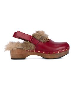 Gucci | Amstel Clogs Size 38.5 Leather/Rubber/Wood