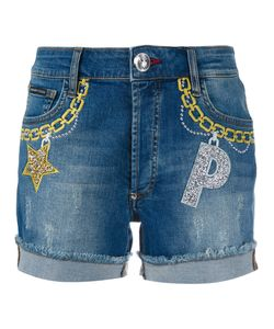 Philipp Plein | Embroide Denim Shorts Womens Size 29 Cotton/Spandex/Elastane