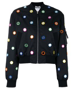 Moschino   Mirror Embroide Bomber Jacket Womens Size 42 Polyamide/Polyester/Rayon