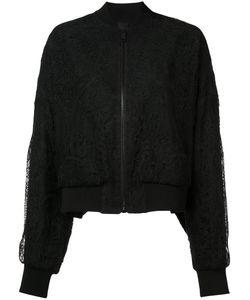 Vera Wang | Sheer Back Lace Bomber Jacket Womens Size 2