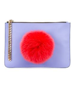Les Petits Joueurs | Pompom Clutch Womens Cotton/Nappa Leather
