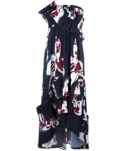 Cédric Charlier | Ruffled Panel Strapless Dress Womens Size 42 Rayon