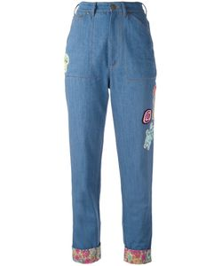 Olympia Le-Tan   Turn-Up Beaded Jeans Size 36 Cotton