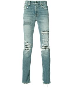 Saint Laurent | Distressed Jeans Mens Size 34 Cotton/Spandex/Elastane/Leather