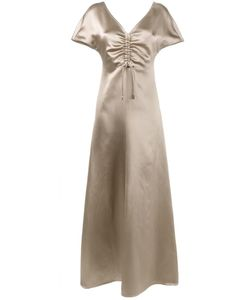 Barbara Casasola | Gathe Chest Gown Womens Size 40 Silk