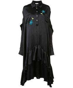 Natasha Zinko   Embroidery Ruffled Dress Womens Size 40 Silk