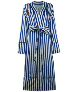 Off-White | Striped Pyjama Coat With Embroidery Womens Size Xxs Cupro/Silk/Cotton