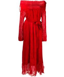 No21   Pleated Off-Shoulder Maxi Dress Womens Size 40 Silk/Acetate