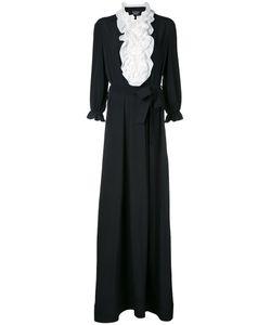 Boutique Moschino | Ruffled Trim Long Dress Womens Size 42 Silk/Rayon