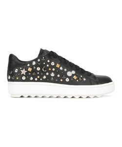 Coach | Studded Lace-Up Sneakers Womens Size 7 Leather/Rubber/Metal