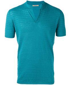Nuur | Slit Neck T-Shirt Mens Size 48 Cotton/Linen/Flax