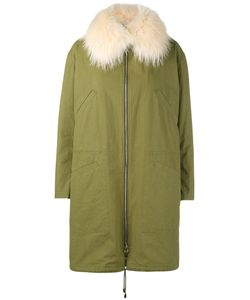 Army Yves Salomon | Raccoon Fur-Trimmed Parka Womens Size 42 Cotton/Polyamide/Polyester/Duck