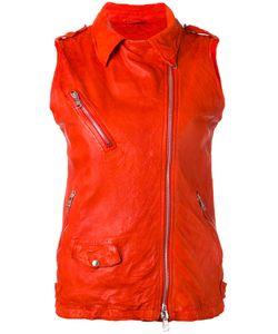 Giorgio Brato   Sleeveless Biker Jacket Womens Size 42 Leather/Cotton