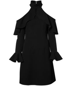 Elie Saab | Cut-Out Ruffle Trim Dress Womens Size 38 Polyester/Rayon/Spandex/Elastane