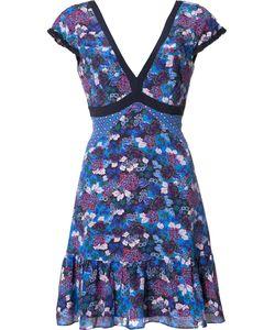 Saloni   Print V-Neck Dress Size 8 Polyester/Silk