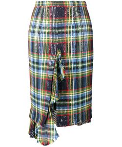 Marco de Vincenzo | Sequin Embellished Check Skirt Womens Size 44 Cotton/Polyester