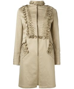 Ermanno Scervino | Pleat Detail Coat Womens Size 42 Cotton/Lyocell/Spandex/Elastane/Polyamide