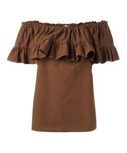 Hache   Gathe Off-Shoulder Blouse Womens Size 42 Cotton/Spandex/Elastane