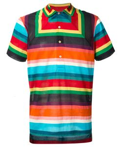 Paul Smith | Geometric Striped Polo Shirt Mens Size Small Cotton/Polyamide