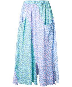 Julien David | Print Pleated Skirt Womens Size Xs Cotton/Linen/Flax