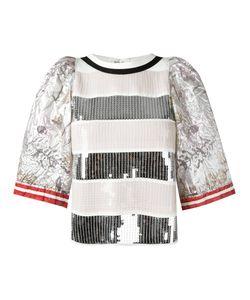 Aviù | Sequinned T-Shirt Womens Size 42 Silk/Cotton/Polyamide/Polyester
