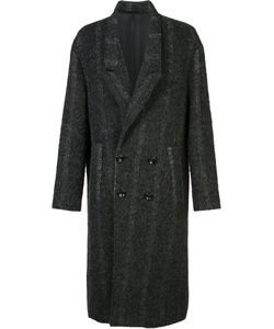 Second/Layer | Double-Breasted Midi Coat Mens Size Medium Cupro/Cotton/Wool