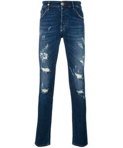 Philipp Plein | Distressed Slim Jeans Mens Size 33 Cotton/Spandex/Elastane/Polyester