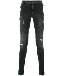 Balmain | Distressed Biker Jeans Mens Size 35 Cotton/Polyurethane