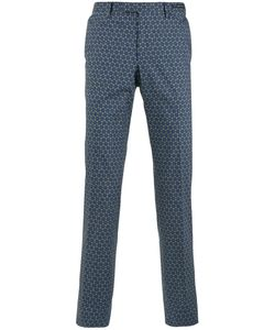Pt01 | Geometric Pattern Slim-Fit Trousers Mens Size 56 Cotton