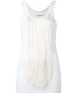 Barbara Bui | Creme Tasseled Tank Top Womens Size Large Cotton/Spandex/Elastane/Rayon