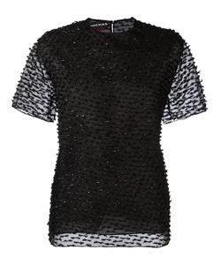 Rochas | Textu Sheer Sleeve Blouse Womens Size 42 Polyamide/Wool/Silk