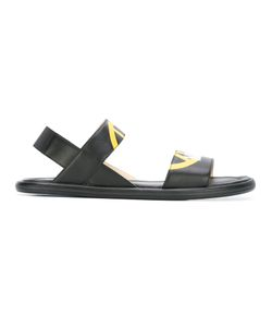 Love Moschino   Peace Sign Sandals Mens Size 42 Leather/Rubber