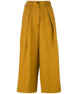 Forte Forte | High-Waisted Cropped Trousers Womens Size I Linen/Flax