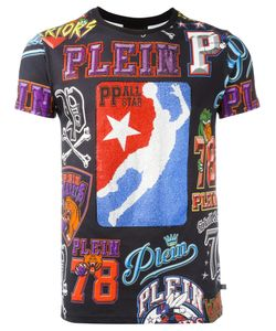 Philipp Plein | Printed T-Shirt Mens Size Medium Cotton/Crystal