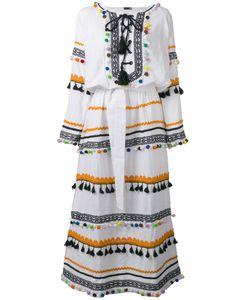 Dodo Bar Or | Pom-Pom Fringe Maxi Dress Womens Size Medium