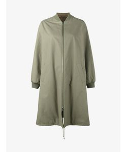 Army Yves Salomon | Reversible Long Bombercoat Womens Size 40 Cotton/Rabbit