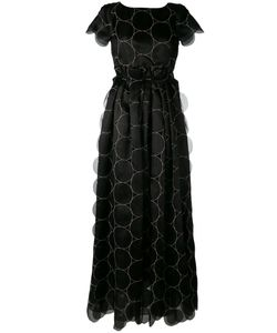 Rochas | Fitted Waist Pleated Maxi Dress Womens Size 42 Silk