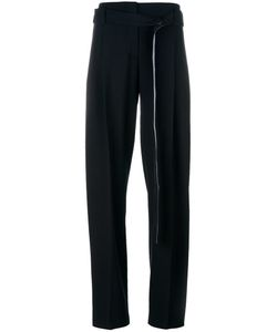 Cédric Charlier | Side Panel Trousers Womens Size 40 Virgin Wool/Rayon/Cotton