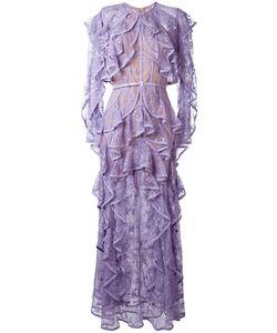 Elie Saab | Ruffled Lace Dress Womens Size 38 Silk/Nylon/Polyester/Silk