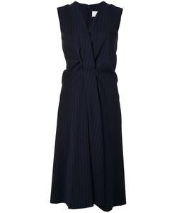 Maison Margiela | Pinstripe Drapery Dress Womens Size 42 Virgin Wool/Acetate/Polyamide/Silk