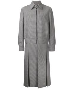 Wooyoungmi | Houndstooth Pattern Zipped Coat Mens Size 50 Mohair/Wool