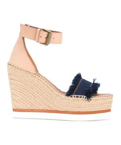 See by Chloé | Frayed Wedged Sandals Womens Size 37 Leather/Rubber/Raffia
