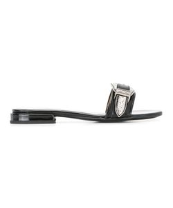 Toga | Buckle Slip Sandals Womens Size 38 Calf Leather/Leather/Metal