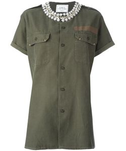 Forte Couture | Embellished Military Shirt Womens Size Medium Cotton