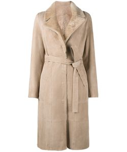 Yves Salomon | Belted Trench Coat Womens Size 38 Goat Skin/Lamb
